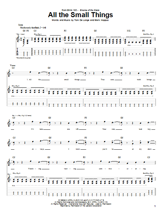 Tablature guitare All The Small Things de Blink-182 - Tablature Guitare