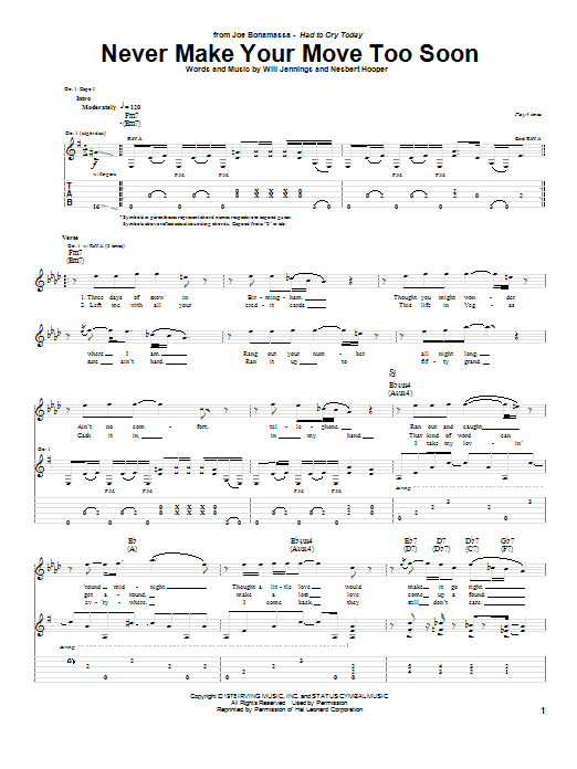 Tablature guitare Never Make Your Move Too Soon de Joe Bonamassa - Tablature Guitare