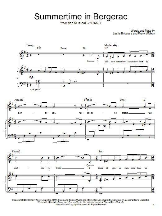 Partition piano Summertime In Bergerac de Leslie Bricusse - Piano Voix Guitare (Mélodie Main Droite)