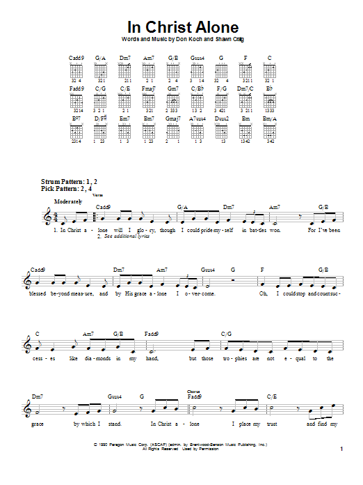 In Christ Alone sheet music by Michael English (Easy Guitar – 57671)