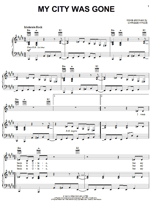 My City Was Gone Sheet Music
