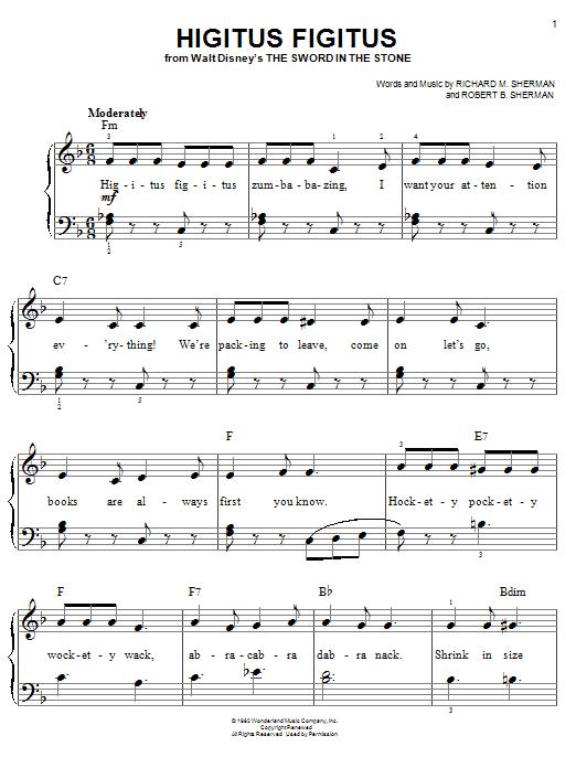 Partition piano Higitus Figitus de Richard M. Sherman - Piano Facile