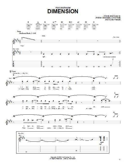 Dimension Sheet Music