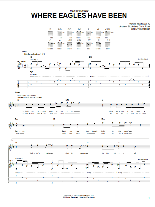 Where Eagles Have Been Sheet Music