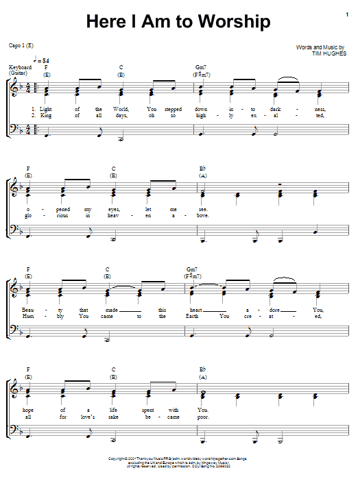 Here I Am To Worship (Piano, Vocal & Guitar (Right-Hand Melody))