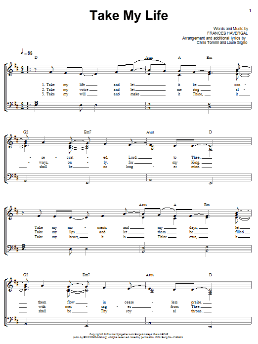 Take My Life (Piano, Vocal & Guitar (Right-Hand Melody))
