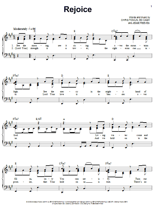 Rejoice (Piano, Vocal & Guitar (Right-Hand Melody))