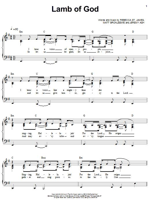 Lamb Of God (Piano, Vocal & Guitar (Right-Hand Melody))