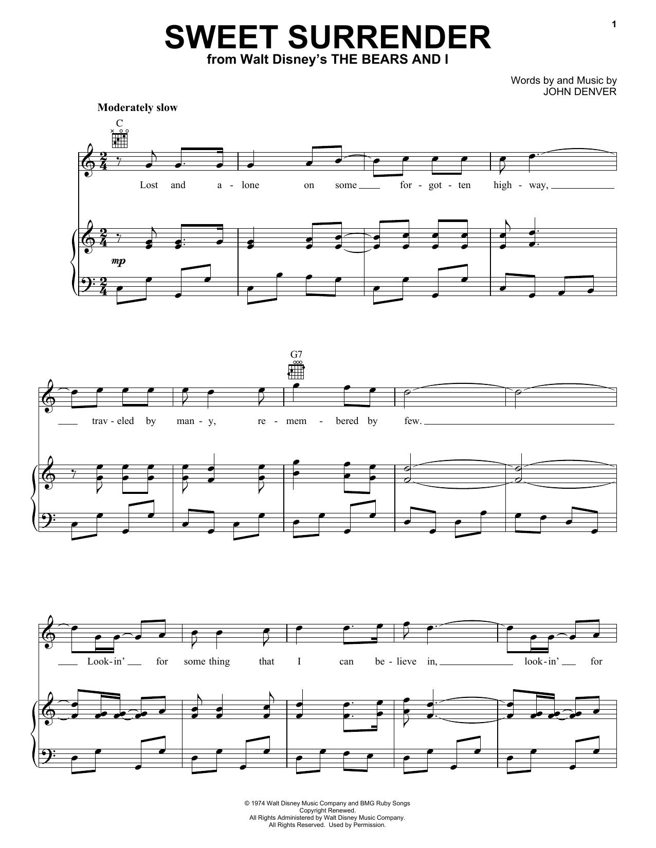 Partition piano Sweet Surrender de John Denver - Piano Voix Guitare (Mélodie Main Droite)