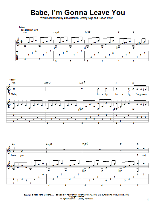 Tablature guitare Babe, I'm Gonna Leave You de Led Zeppelin - Tablature Guitare