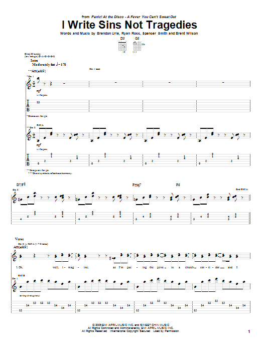 Tablature guitare I Write Sins Not Tragedies de Panic! At The Disco - Tablature Guitare