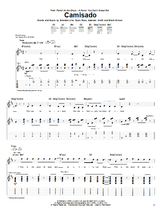 Tablature guitare Camisado de Panic! At The Disco - Tablature Guitare