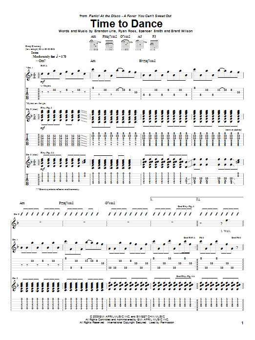Tablature guitare Time To Dance de Panic! At The Disco - Tablature Guitare