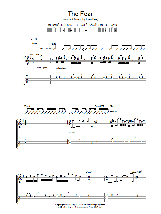 The Fear (Guitar Tab)