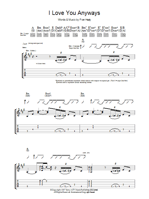 I Love You Anyways Sheet Music