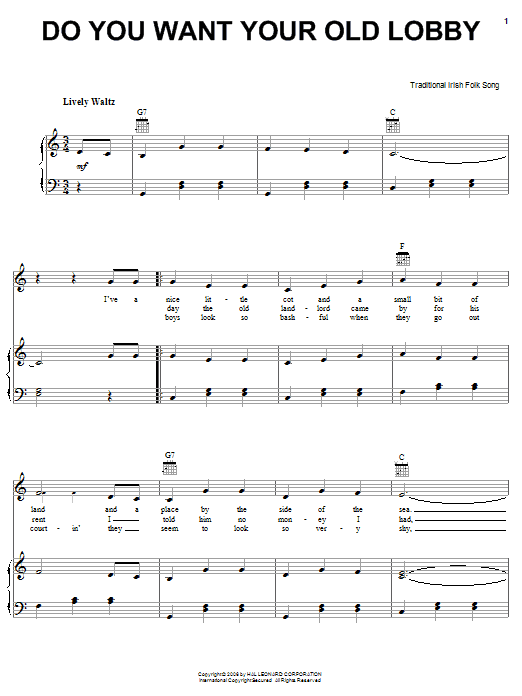 Partition piano Do You Want Your Old Lobby de Traditional Irish Folk Song - Piano Voix Guitare (Mélodie Main Droite)