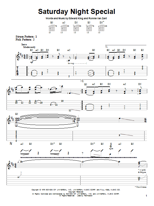 Tablature guitare Saturday Night Special de Lynyrd Skynyrd - Tablature guitare facile