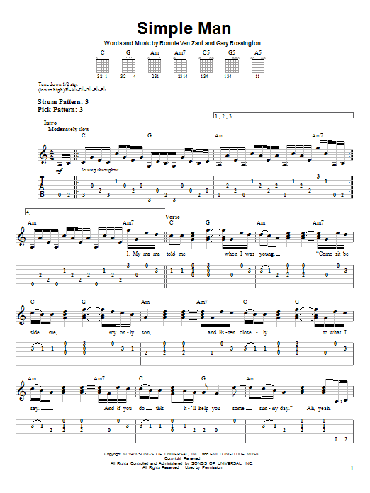 Simple Man sheet music by Lynyrd Skynyrd (Easy Guitar Tab u2013 56793)