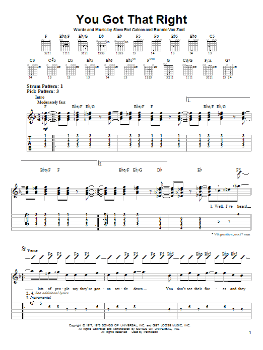 Tablature guitare You Got That Right de Lynyrd Skynyrd - Tablature guitare facile
