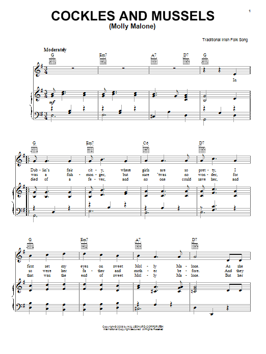 Cockles And Mussels (Molly Malone) Sheet Music