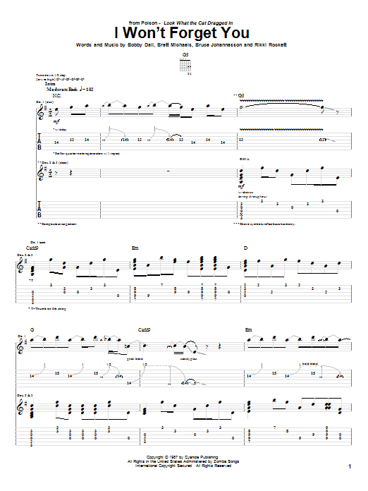 Tablature guitare I Won't Forget You de Poison - Tablature Guitare