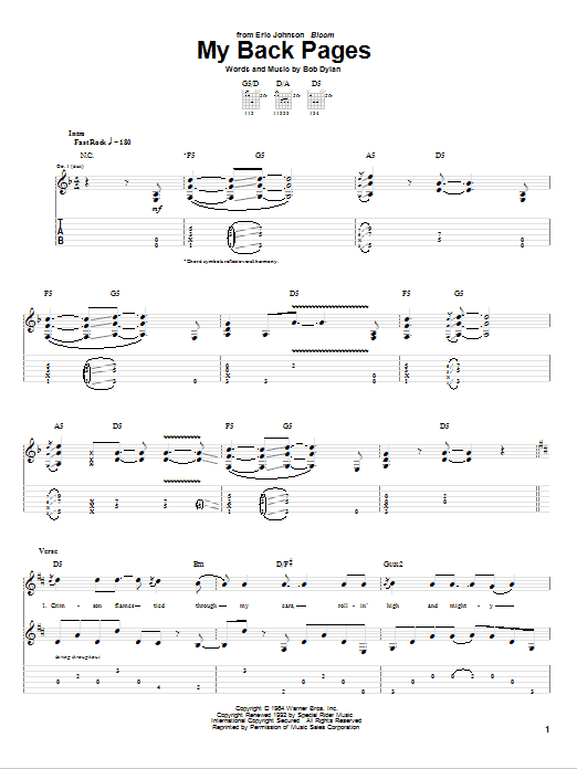 Tablature guitare My Back Pages de Eric Johnson - Tablature Guitare