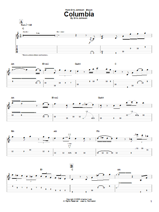 Tablature guitare Columbia de Eric Johnson - Tablature Guitare