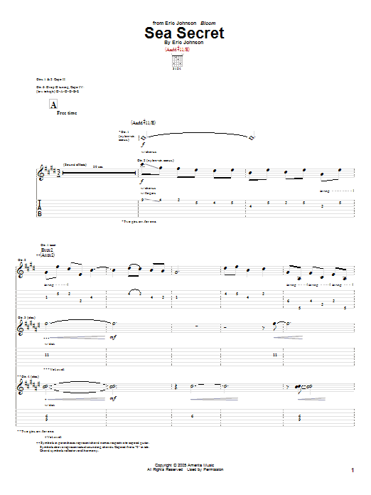 Sea Secret (Guitar Tab)