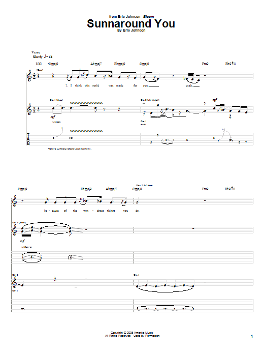 Tablature guitare Sunnaround You de Eric Johnson - Tablature Guitare