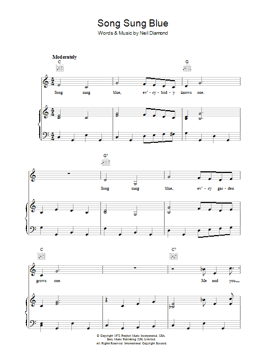 Song Sung Blue (Piano, Vocal & Guitar)