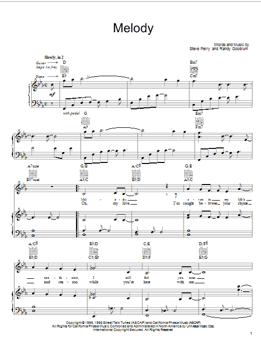 Melody (Piano, Vocal & Guitar (Right-Hand Melody))