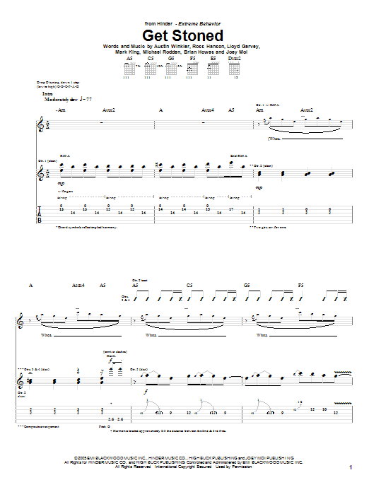 Tablature guitare Get Stoned de Hinder - Tablature Guitare