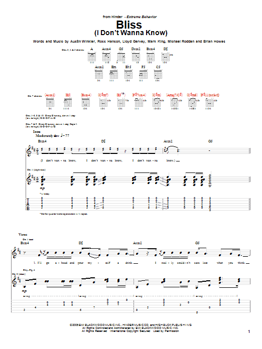 Bliss (I Don't Wanna Know) (Guitar Tab)