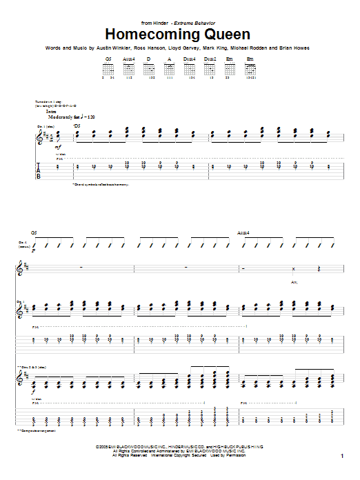 Tablature guitare Homecoming Queen de Hinder - Tablature Guitare