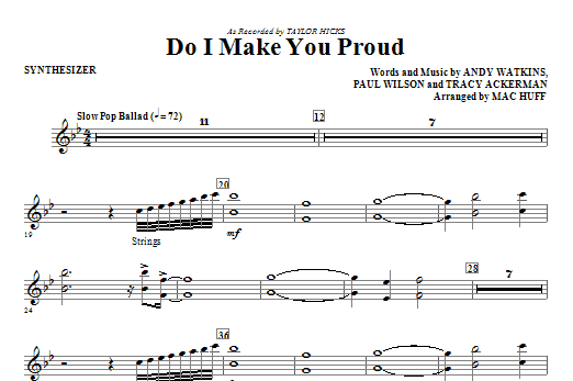 Do I Make You Proud (complete set of parts) sheet music for orchestra/band (Rhythm) by Mac Huff, Andy Watkins, Paul Wilson, Taylor Hicks and Tracy Ackerman. Score Image Preview.