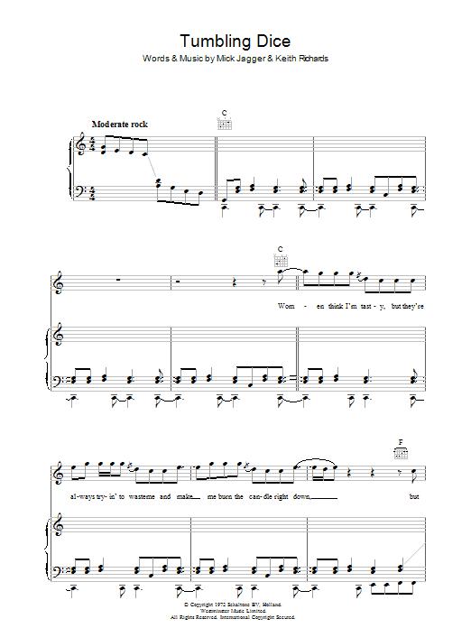 Tumbling Dice (Piano, Vocal & Guitar)