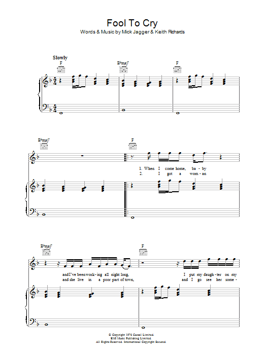 Fool To Cry Sheet Music