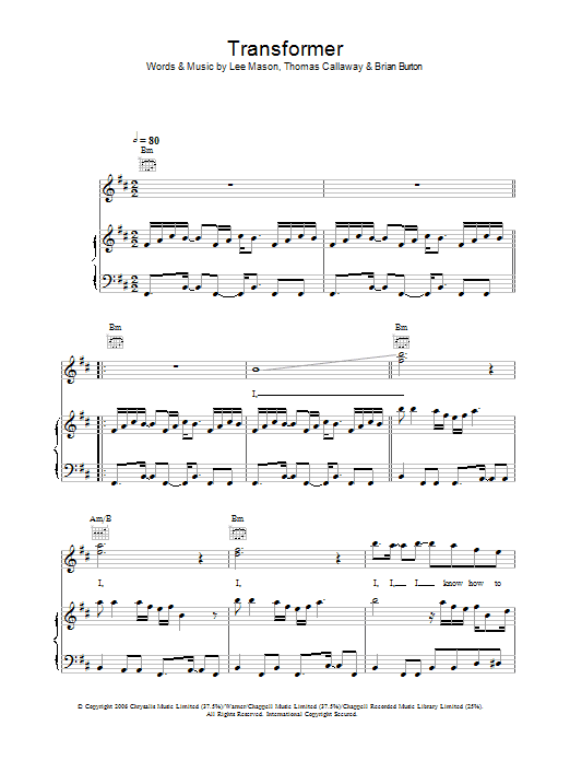 Transformer Sheet Music