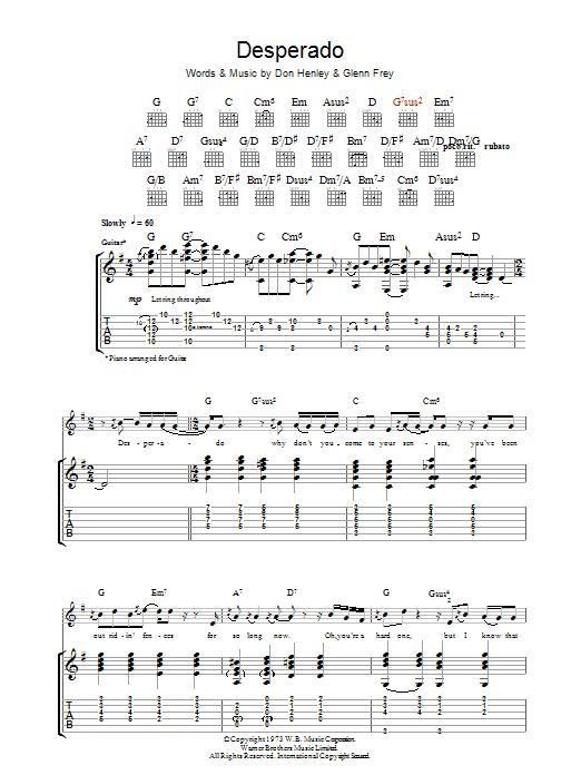 Desperado | Eagles | Guitar Tab