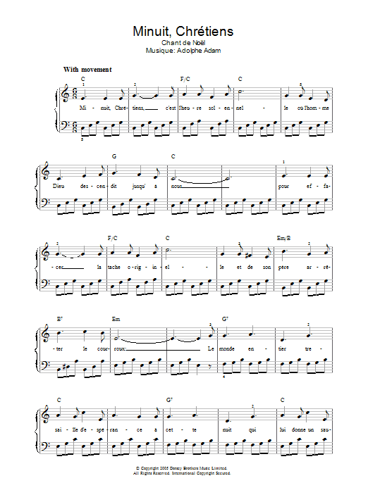 Minuit, Chretiens (Piano, Vocal & Guitar)