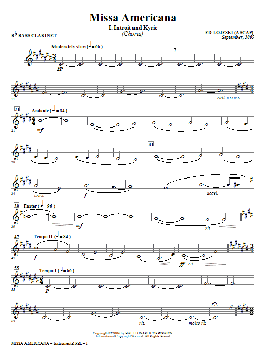 Missa Americana - Bb Bass Clarinet Sheet Music