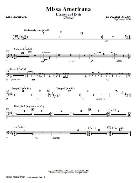 Missa Americana - Bass Trombone (Choir Instrumental Pak)