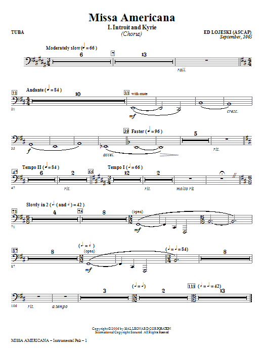 Missa Americana - Tuba (Choir Instrumental Pak)