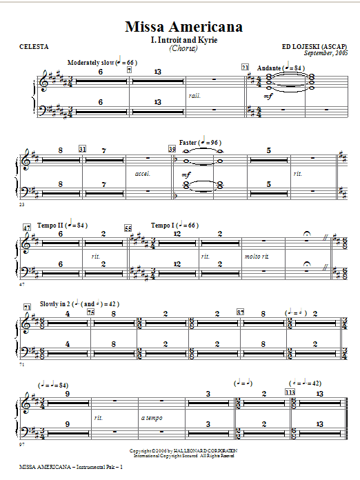 Missa Americana - Celesta (Choir Instrumental Pak)