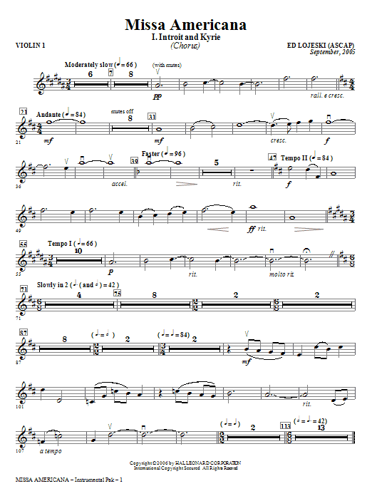 Missa Americana - Violin 1 Sheet Music