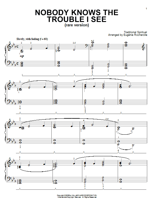 Nobody Knows De Trouble I See (Rare Version) Sheet Music