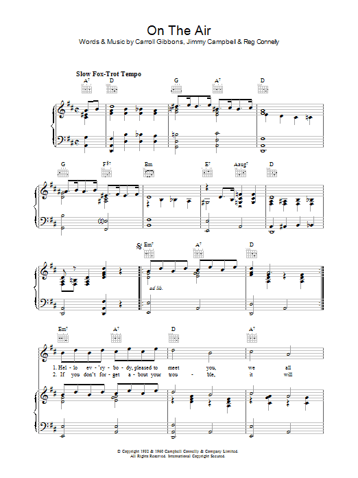 On The Air Sheet Music