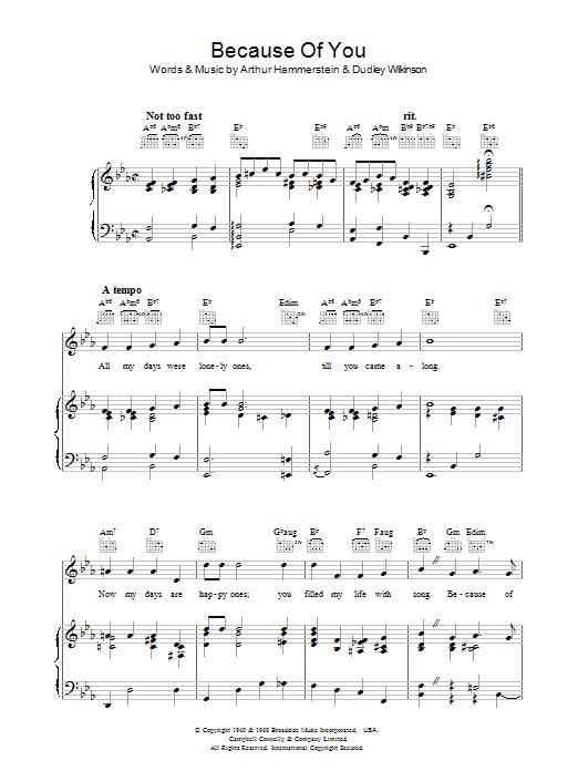 Because Of You (Piano, Vocal & Guitar)