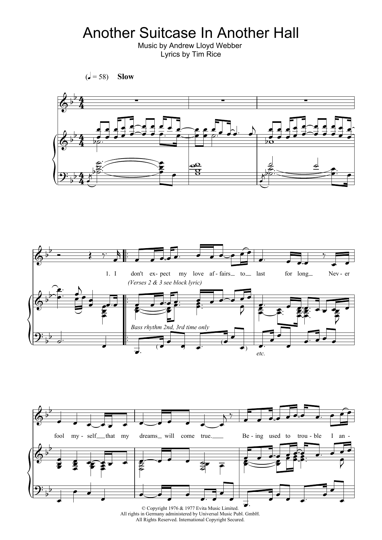 Another Suitcase In Another Hall (from Evita) (Piano & Vocal)