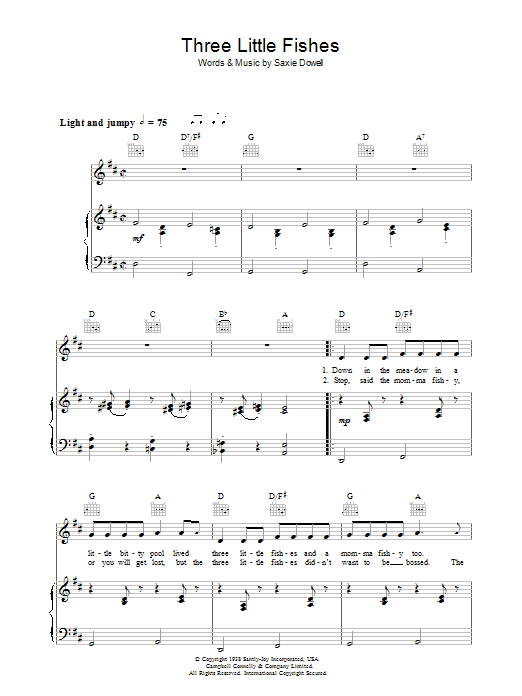 Three Little Fishes (Piano, Vocal & Guitar)